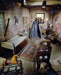 """""""This is what the set of the original black & white Addams Family TV show looked like in color (photos: Richard Fish)"""" Addams Family House, The Addams Family 1964, Addams Family Tv Show, Family Movies, The Addams Family Musical, Movie Set Decor, Original Addams Family, Los Addams, Funeral"""