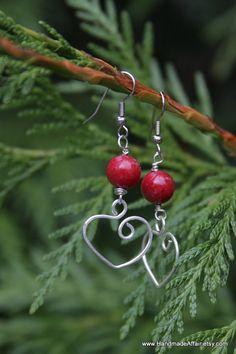 Red Gemstone Earrings Christmas Jewelry by HandmadeAffair on Etsy, $29.00