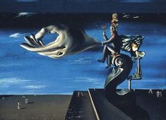 """Salvador Dali's oil and collage on canvas """"La Main (Les Remords de conscience),"""" 1930, part of the exhibit """"Dali: Painting and Film"""" at The Museum of Modern Art in Manhattan."""