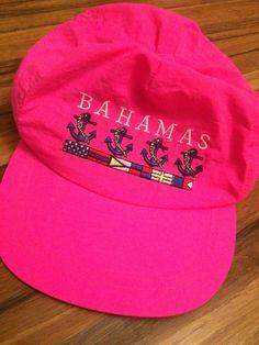 BAHAMAS Vintage Nylon Snapback Cap Hat -80s 1990s Neon Pink Trucker Anchor.  Hats For SaleCool ... c70bdc6dbe4