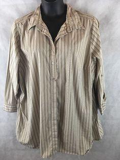 Avenue Button Down Long Sleeve Adjustable  Striped Blouse SZ 30/32 Cotton Blend  #Avenue #ButtonDownShirt #Career