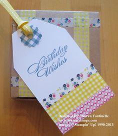 Gingham Garden Designer Washi Tape Birthday Tag and Gift