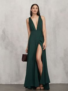 Hunter Green Deep V Neck Prom Dress,Slit Prom Dress,MB 419