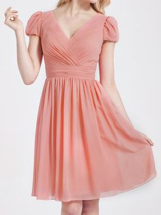 Bubble Sleeve Chiffon Bridesmaid Dress | 15% off, plus FREE Custom Made! 10+ measurements required for a perfect fit, no matter what sizes you are in!