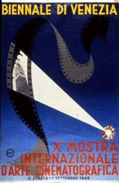 Official artwork for the 10th edition of Mostra Internazionale d'Arte Cinematografica alla Biennale di Venezia (Venice Film Festival) in 1949.