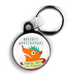 Respect Apostrophes  monster keychain by fishcakesoboy on Etsy (Accessories, Keychains & Lanyards, Keychains, monster, student, keychain, organized, colorful, teacher, nerd, reading, books, education, grammar, punctuation)
