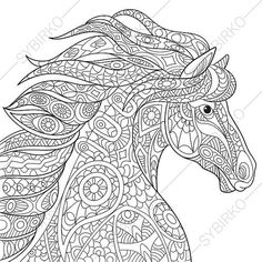 Horse Adult Coloring Page. Zentangle Doodle by ColoringPageExpress
