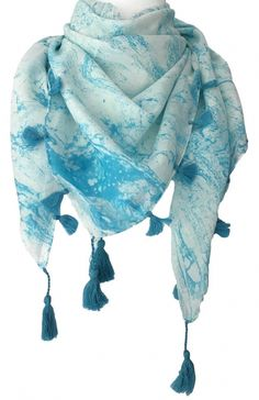 Premium 100/% Cotton Stripped Blue Scarf With Feathered Edge