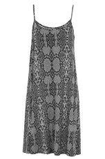 Ellos e-basics Kjole med smalle skulderstropper Sort, Grå/sort dyremønstret, Blå/hvidmønstret, Gråmeleret, Stærk orange - Dame - Kjoler   Ellos Mobile