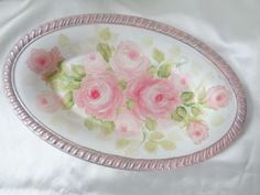 ROSE FILLED TRINKET DISH hp chic shabby vintage cottage hand painted garden pink