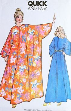 0b73ba067485 1970s Batwing Hostess Caftan Gown Lounging Jumpsuit Pattern McCALLS 3479  Quick n Easy Palazzo Pantdress Zip