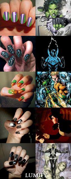 Superhero manicures! Zatanna's has a bunny and fishnets!