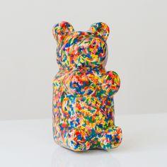 Cute kid's bedroom decor. Sculpture shaped like a gummi bear with sprinkles. Handmade piece of art by sazerac stitches. We Bear, Cute Bears, Gummy Bears, Colorful Interiors, Lovers Art, Cute Kids, Kid Stuff, Sprinkles, 3 D