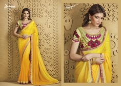 Buy this gorgeous yellow chiffon #saree along with fancy yellow blouse with #digital print, stone for your occasions like casual evenings with friends and family from Laxmipati Saree. #Catalogue #SANGEET Price - Rs. 2083.00 Visit for more designs@ www.laxmipati.com #ReadyToWear #OccasionWear #Ethnicwear #FestivalSarees #Fashion #Fashionista #Couture #SANGEET0816 #LaxmipatiSaree #autumn #winter #women #her #she #mystery #lingerie #black #lifestyle #life #ColoursOfIndia #HappyBride #WhoYouAre Laxmipati Sarees, Yellow Blouse, Chiffon Saree, Printed Sarees, Occasion Wear, Daily Wear, Bridal Collection, Catalog, Print Design