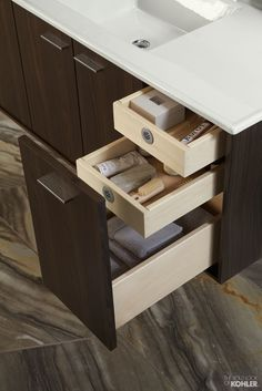Modern Bathroom Vanity With Amazing Storage   Explore Kohler Jute Vanity