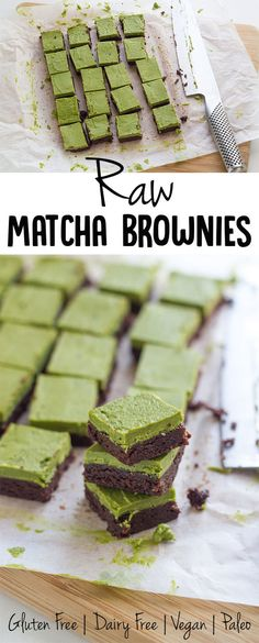 My oh my these Raw Matcha Brownies are amazing. Not only are they delicious, but they are super easy to whip up and they so look so pretty too.