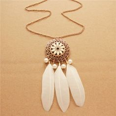 #Zinc #Alloy #Jewelry #Necklace, with ABS Plastic #Pearl & Feather, Very Cute.