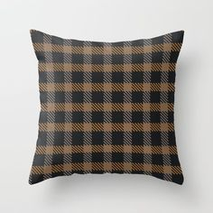 Tattersall Inspired - Browns Throw Pillow