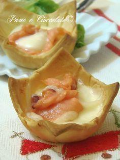 Cestini di Salmone e Mozzarella ricetta antipasto