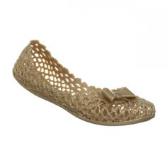 Mel Jube Bow Flat Gold Jelly Shoes