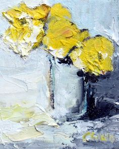 Yellow Flowers Art Print Giclee on Paper 8x10 by CGallaFineArt, $18.00