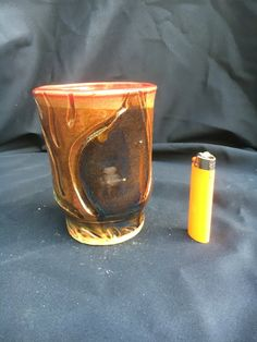 Large Beer Stein Rich Green and brown hand carved tumbler metallic accents
