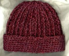 Crocheted Rib Hat, love the ribbed top and straight cuff. this is the pattern page. also saw it in variegated yarn!