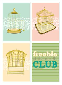 freebie of the month club : bird cages | the handmade home : perfect for cards