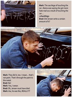 9x16 Blade Runners [gifset] - Mark Sheppard DVD commentary - Fan and Jensen reaction to scraping up the impala