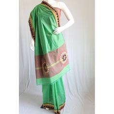 Sea green embroidered handloom cotton saree - Kriti-Kala