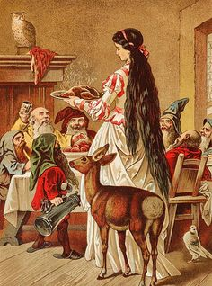 Late 19th century illustration of Snow White with the dwarfs, by Carl Offterdinger.