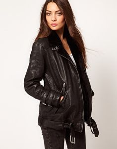 Whistles Jamie Fur Lined Leather Jacket