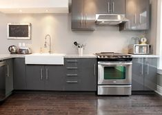 Captivating Grey Galore, Modern Ikea Kitchen With A Farmers Sink, Stainless Steel    Gray Ikea Kitchen