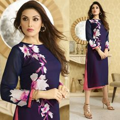 Kurtis: - with round neck neckline and 3/4 sleeves perfect for party wear.