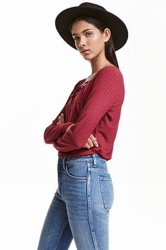 What better way to stock up for the new season than with affordable new offerings from H&M? With cashmere at just and on-trend looks from feminine ruffles to cool, casual stripes, the high street hero's latest offerings are simply too good to miss. Going Out Tops, Lace Crop Tops, Rib Knit, Long Sleeve Tops, Fashion Online, Kids Fashion, Outfits, Clothes, Shopping