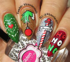 And for my final Christmas mani this year. Used in this mani:▪️Painted Polish - Grinch Green, Holo Harvest▪️Starrily -… Xmas Nail Art, Christmas Gel Nails, Christmas Nail Art Designs, Holiday Nail Art, Disney Acrylic Nails, Best Acrylic Nails, Nail Art Dessin, Fire Nails, Dream Nails