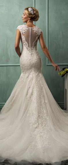 amelia sposa wedding dresses 2014 cap sleeve fit-to-flare gown illusion back #mermaidweddingdress