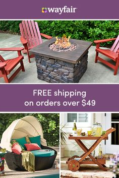 Sign up for access to exclusive sales, all at up to 70% OFF! When looking at outdoor products, you need to consider durability and utility as well as color and design. Our three favorite new trends are vibrant colors, mixing materials and textures, and recyclable furniture. Visit Wayfair and get FREE shipping on all orders over $49.