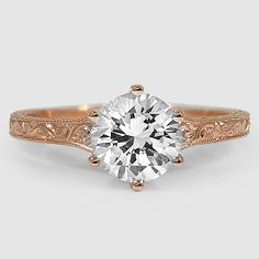 14K Rose Gold Hudson Ring // Set with a 1.25 Carat, Round, Super Ideal Cut, G Color, VS1 Clarity Diamond