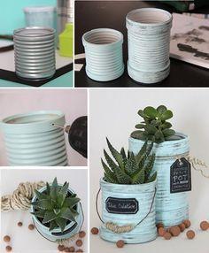 Patinées bleu vert, ces boites en fer deviennent de beaux petits pots pour les cactus.