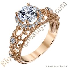 A gorgeous filigree #engagementring from the master jewelers at BloomingBeautyRing.com - (213) 222-8868 - 14 karat #RoseGold