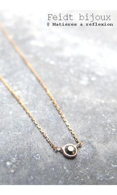 Feidt Paris Solitaire Necklace in 18K Gold and Diamond F1Rbf