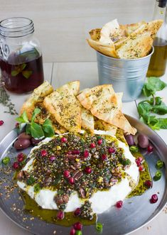 Labneh Dip with Zaatar Pistachio Mint Olive Topping. This the BEST lightest and . Labneh Dip with Zaatar Pistachio Mint Olive Topping. This the BEST lightest and most flavorful method to do a DIP! Use Greek yogurt for a fast . Best Dip Recipes, Healthy Recipes, Cold Dip Recipes, Fast Recipes, Beef Recipes, Kitchen Gourmet, Kitchen Recipes, Fingers Food, Comida India