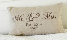 Mr. and Mrs. Pillow Cover 12x20 lumbar choice by ThePillowGardenCo