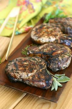 Pastured 2 Thick Center Cut Pork Loin Chops bathe in an herb-heavy marinade spiked with fresh garlic and cracked peppercorns. Grilling Recipes, Pork Recipes, Paleo Recipes, Real Food Recipes, Paleo Meals, Recipies, Paleo Food, Healthy Dinners, Yummy Recipes