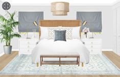 Contemporary, Coastal Bedroom Design by Havenly Interior Designer Kelcy Modern Master Bedroom, Coastal Bedrooms, Showcase Design, Home Remodeling, Contemporary, Interior Design, Furniture, Bathing, Bedroom Ideas