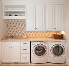 A small laundry room can be a challenge to keep laundry room cabinets functional, yet since this laundry room organization space is constantly in use, we have some inspiring design laundry room ideas. Laundry Room Remodel, Laundry Room Cabinets, Basement Laundry, Small Laundry Rooms, Laundry Room Organization, Laundry In Bathroom, Utility Cabinets, Laundry Area, Diy Cabinets