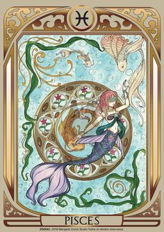 Print art with Pisces female of ZODIAC project developed by Mangarts Comic Studio. Tarot, Cancer Leo Cusp, Major Arcana Cards, My Photo Gallery, Zodiac Star Signs, Zodiac Horoscope, Fantasy Characters, Constellations, Vintage World Maps