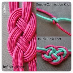 Chinese knotting: infinity knot, double connection knot and double coin knot… Felt Necklace, Braided Necklace, Diy Necklace, Necklaces, Bracelet Crafts, Jewelry Crafts, Handmade Jewelry, Bracelets, Rope Jewelry