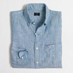 JCrew Slim Linen Shirt in Amalfi Blue $48USD